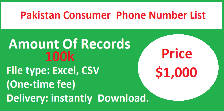 Pakistan Consumer Phone Number List