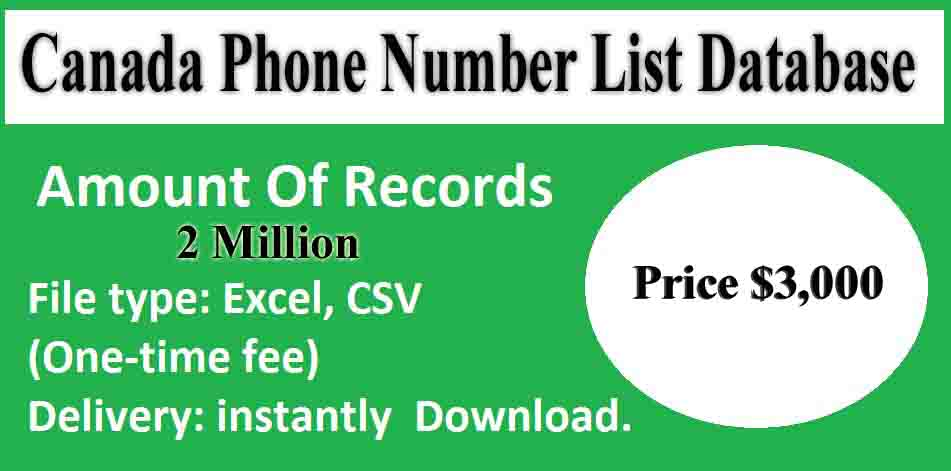 Canada Phone Number List Database